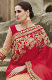 Red & Peach Designer Embroidered Fancy Bridal Saree - Saira's Boutique - 6