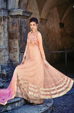 Peach Designer Net Embroidered Anarkali Suit - Saira's Boutique - 1
