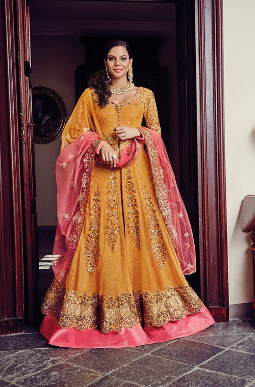 Orange & Pink Designer Heavy Bridal Anarkali Suit - Saira's Boutique - 1