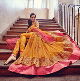 Orange & Pink Designer Heavy Embroidered Bridal Anarkali Suit-Saira's Boutique