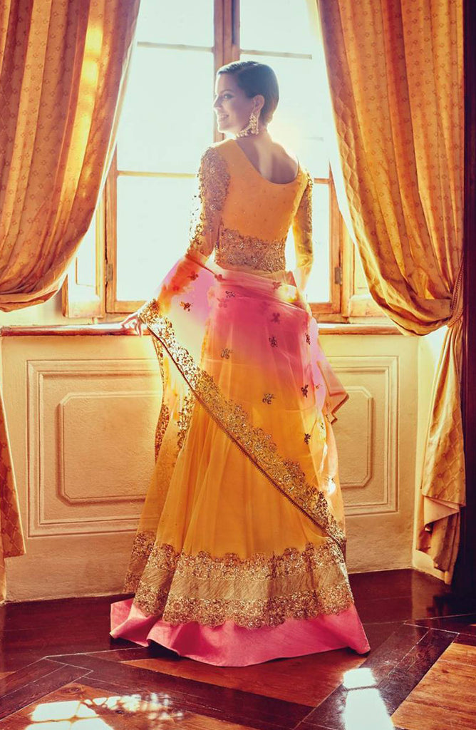 Orange & Pink Designer Heavy Bridal Anarkali Suit - Saira's Boutique - 3