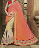 Coral & Cream Designer Embroidered Fancy Bridal Saree - Saira's Boutique - 2