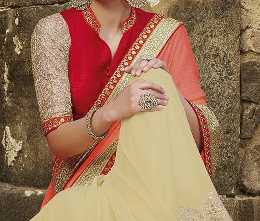 Coral & Cream Designer Embroidered Fancy Bridal Saree - Saira's Boutique - 4