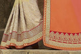 Coral & Cream Designer Embroidered Fancy Bridal Saree - Saira's Boutique - 5