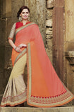Coral & Cream Designer Embroidered Fancy Bridal Saree - Saira's Boutique - 1
