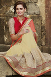 Coral & Cream Designer Embroidered Fancy Bridal Saree - Saira's Boutique - 6