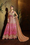 Pink & Beige Designer Georgette Heavy Embroidered Anarkali Suit - Saira's Boutique - 1