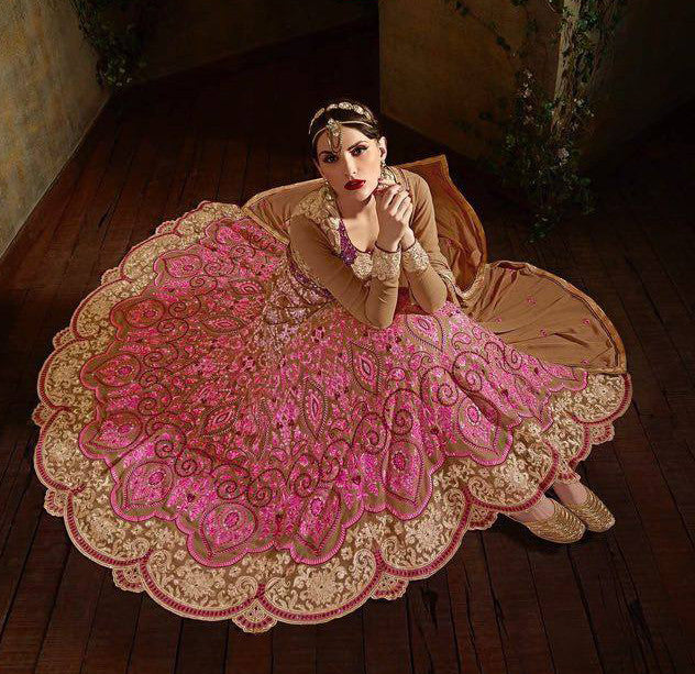 Pink & Beige Designer Georgette Heavy Embroidered Anarkali Suit - Saira's Boutique - 2
