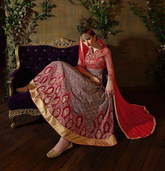 Red & Light Mauve Designer Georgette Heavy Embroidered Anarkali Suit - Saira's Boutique - 2