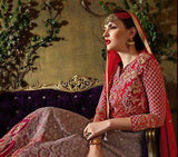 Red & Light Mauve Designer Georgette Heavy Embroidered Anarkali Suit - Saira's Boutique - 3