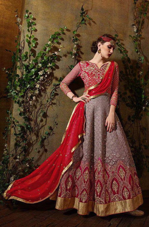 Red & Light Mauve Designer Georgette Heavy Embroidered Anarkali Suit - Saira's Boutique - 1