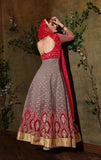 Red & Light Mauve Designer Georgette Heavy Embroidered Anarkali Suit - Saira's Boutique - 4