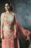 Light Peach & Off White Designer Embroidered Georgette Straight Suit - Saira's Boutique - 3