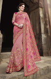 Pink Designer Embroidered Fancy Bridal Saree - Saira's Boutique - 1