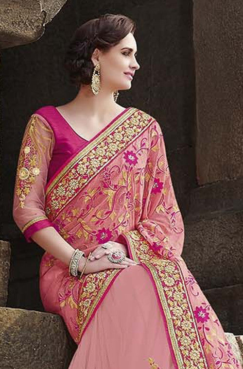 Pink Designer Embroidered Fancy Bridal Saree - Saira's Boutique - 6