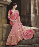 Pink Designer Embroidered Fancy Bridal Saree - Saira's Boutique - 2
