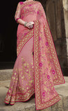 Pink Designer Embroidered Fancy Bridal Saree - Saira's Boutique - 3