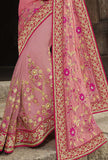 Pink Designer Embroidered Fancy Bridal Saree - Saira's Boutique - 4
