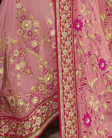 Pink Designer Embroidered Fancy Bridal Saree - Saira's Boutique - 5