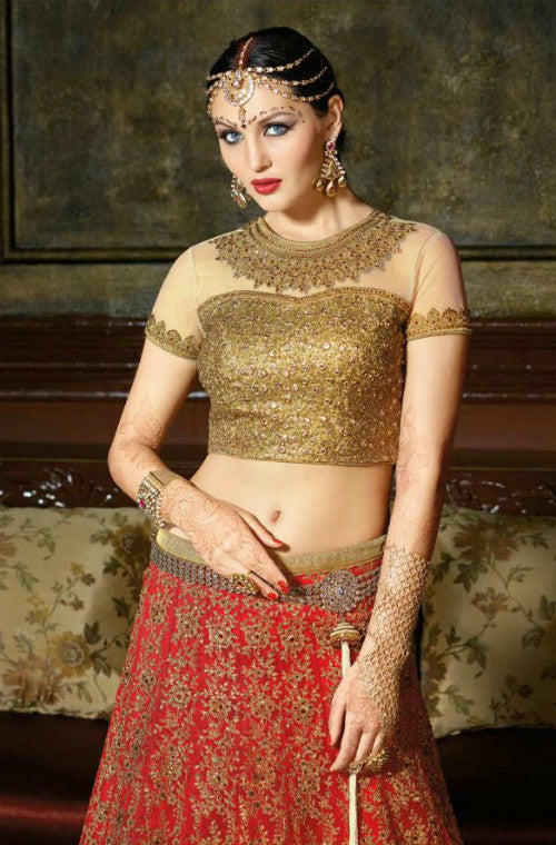 Red Gold Designer Net Lehenga-Saira's Boutique