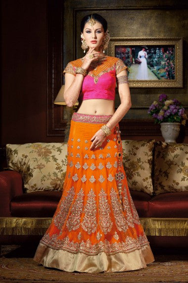 Orange Pink Designer Premium Net Lehenga-Saira's Boutique