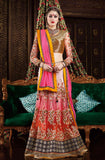 Shaded Orange Pink Designer Premium Net Lehenga - Saira's Boutique - 1