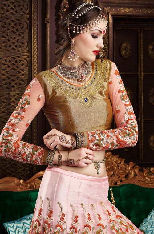 Shaded Orange Pink Designer Premium Net Lehenga - Saira's Boutique - 3