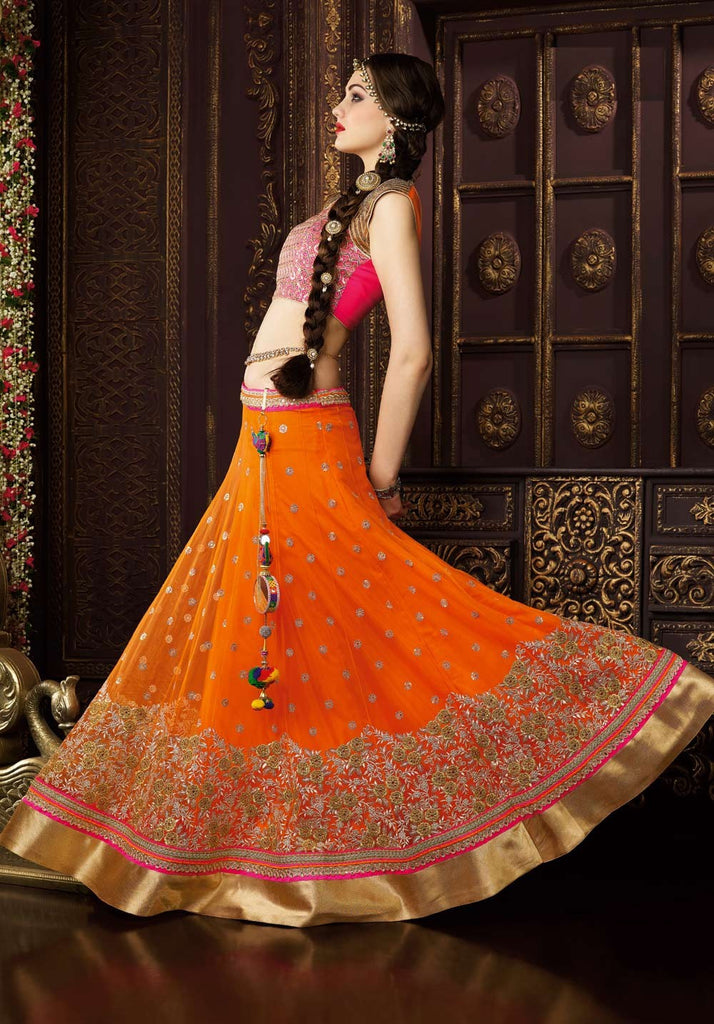 Orange & Pink Designer Premium Net Lehenga - Saira's Boutique - 2