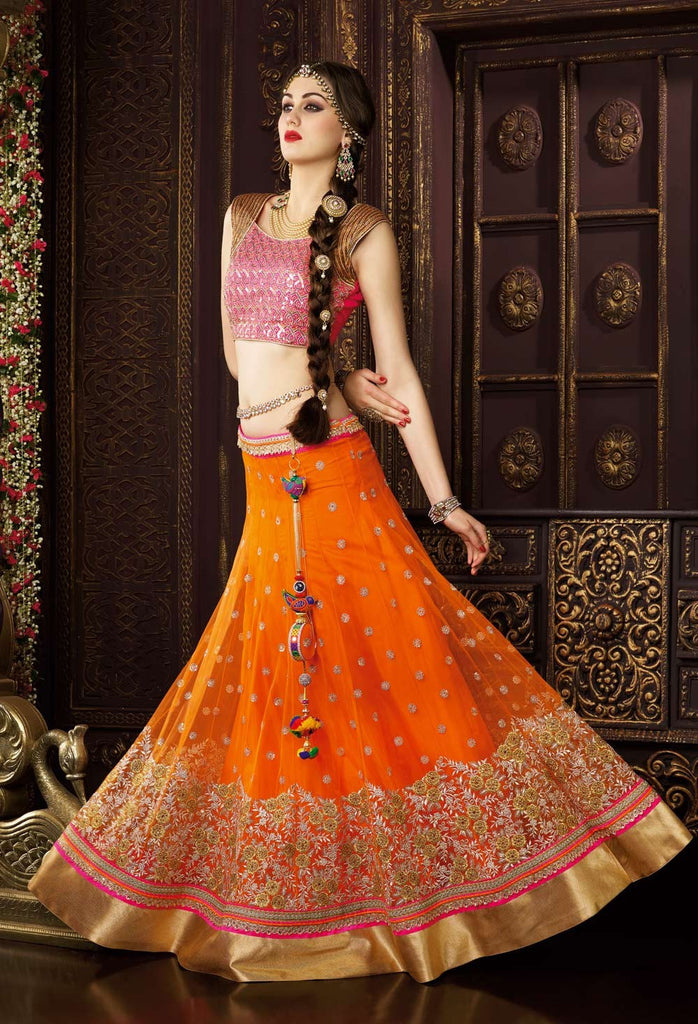 Orange & Pink Designer Premium Net Lehenga - Saira's Boutique - 3