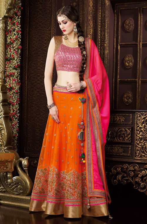 Orange & Pink Designer Premium Net Lehenga - Saira's Boutique - 1