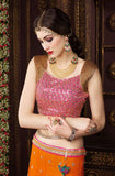 Orange & Pink Designer Premium Net Lehenga - Saira's Boutique - 4