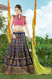 Navy Blue & Pink Designer Embroidered Lehenga