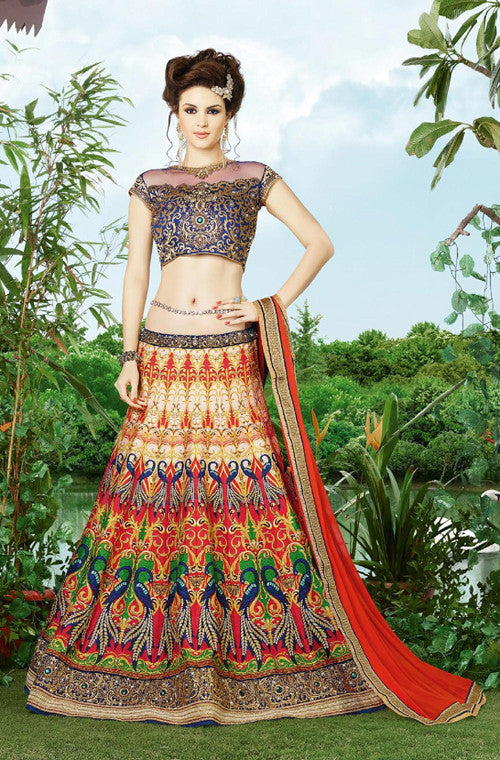 Multicolored Designer Embroidered Lehenga