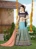 Blue & Peach Designer Embroidered Lehenga