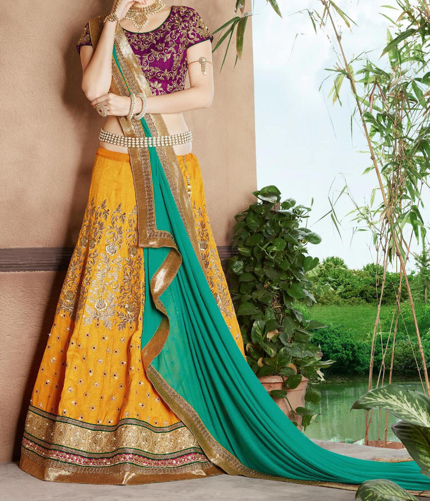 Yellow & Magenta Purple Designer Embroidered Lehenga-Saira's Boutique