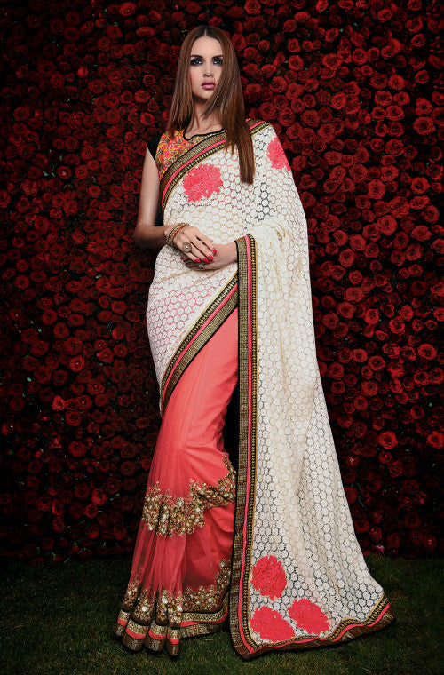 Pink & White Designer Net & Cotton Saree - Saira's Boutique