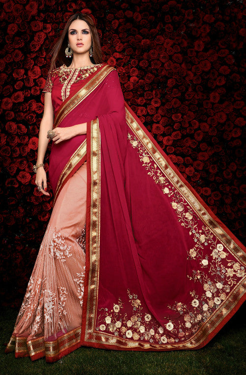 Maroon & Peach Designer Georgette Saree - Saira's Boutique - 1