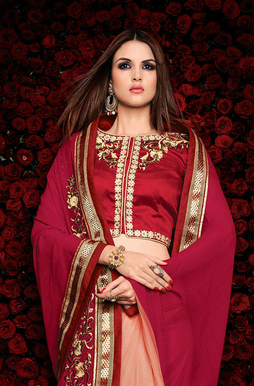 Maroon & Peach Designer Georgette Saree - Saira's Boutique - 3