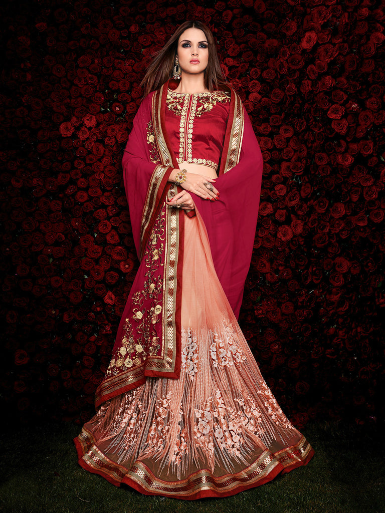 Maroon & Peach Designer Georgette Saree - Saira's Boutique - 2