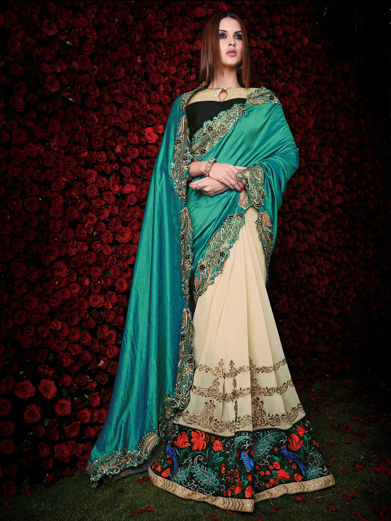 Green & Cream Designer Georgette Saree - Saira's Boutique