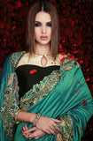 Green & Cream Designer Georgette Saree-Saira's Boutique