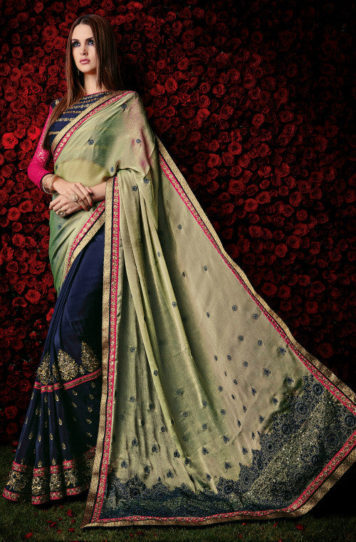 Mehendi Green & Blue Designer Chiffon Saree - Saira's Boutique