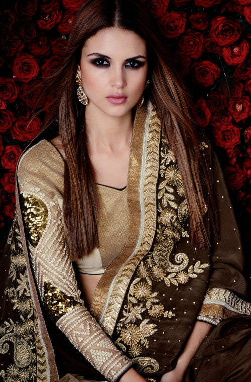 Brown & Cream Designer Satin & Net Saree-Saira's Boutique