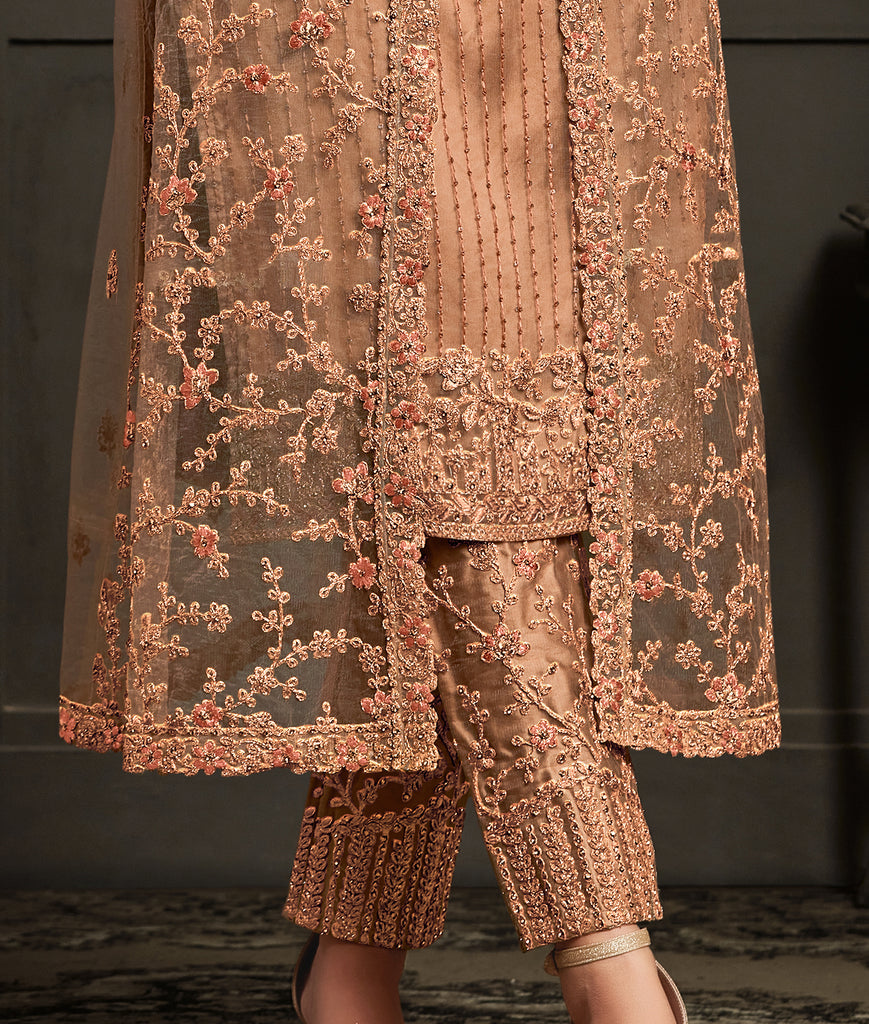 Antique Brass Designer Heavy Embroidered Jacket Style Pant Suit-Saira's Boutique