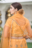 Apricot Yellow Designer Embroidered Mirror Work Wedding Lehenga-Saira's Boutique