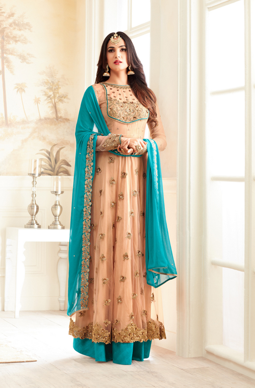 Apricot & Blue Designer Embroidered Net Anarkali Suit-Saira's Boutique