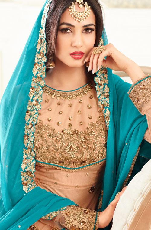 Apricot & Blue Designer Embroidered Net Anarkali Suit