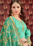 Aqua Green Designer Embroidered Silk Wedding Patiala Suit-Saira's Boutique