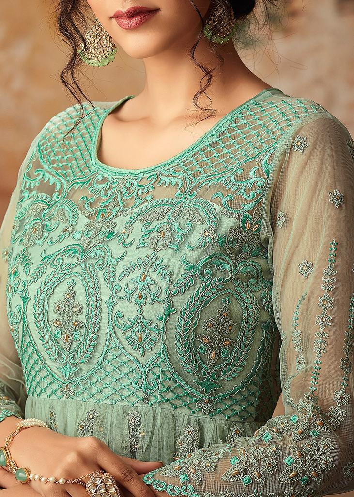 Aqua Green Designer Heavy Embroidered Net Sharara Suit-Saira's Boutique