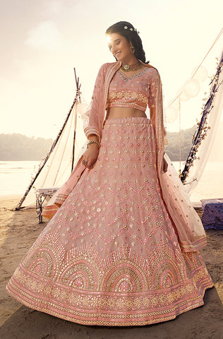 Apricot Yellow Designer Embroidered Mirror Work Wedding Lehenga